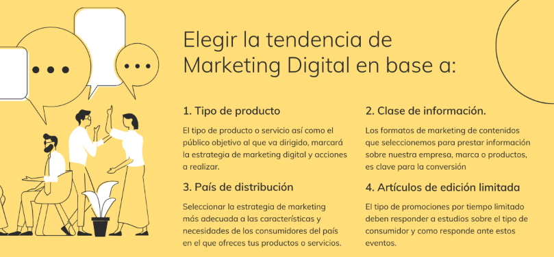 Esquema resumen sobre los factores para elegir la tendencia de marketing digital
