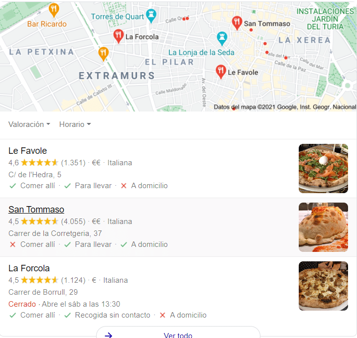 ejemplo resultados en google local pack