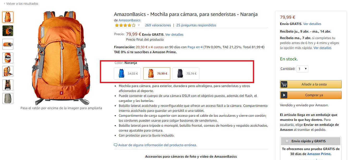 Ejemplo de Ficha de Producto Mochila Completa