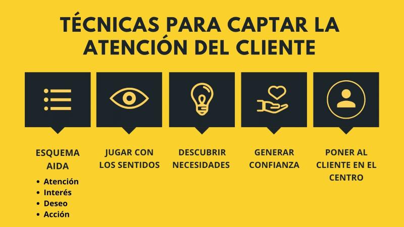 Infografia - técnicas y consejos para captar la atención de los clientes